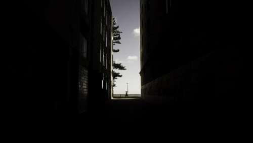 buildings city alleys windows light