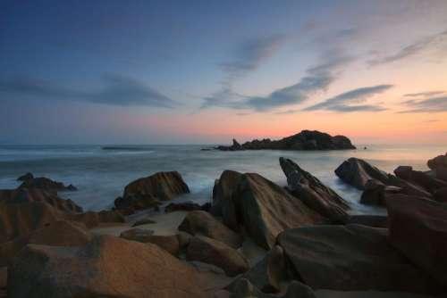 rock coast sea water cliff