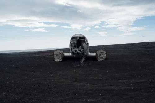 airplane crash wreck damage sand