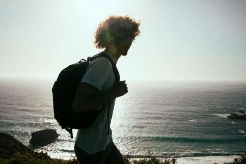 guy man silhouette backpack knapsack