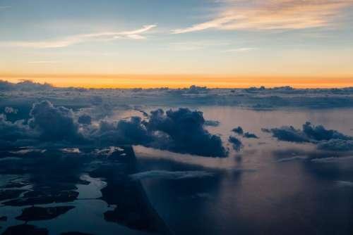 sky clouds sunset horizon travel