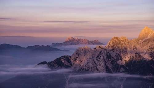 mountains peaks summit landscape nature