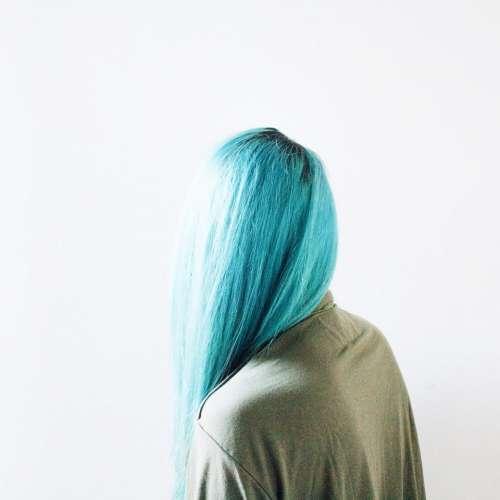 people woman hair dye blue