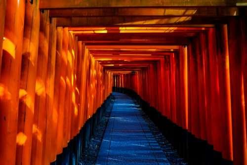 pathway tunnel pattern gravel torii
