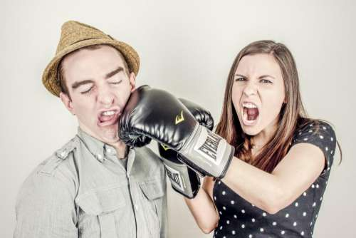 boxing glove fighting punching girl