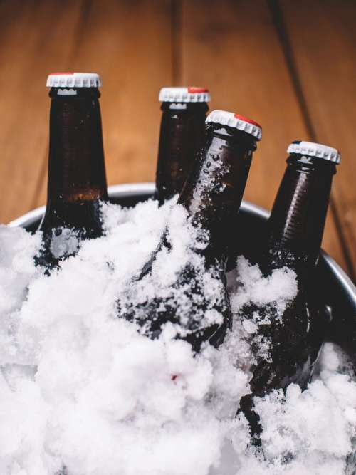 beer bottles bucket ice drinks