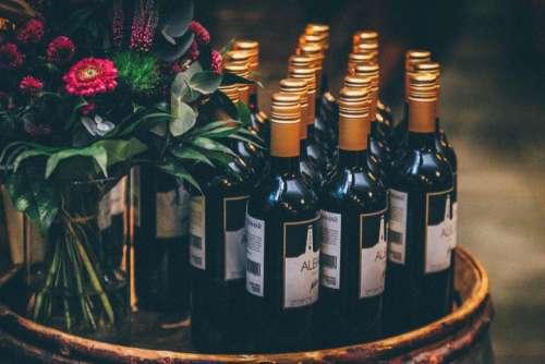 wine bottles wedding flowers bouquet