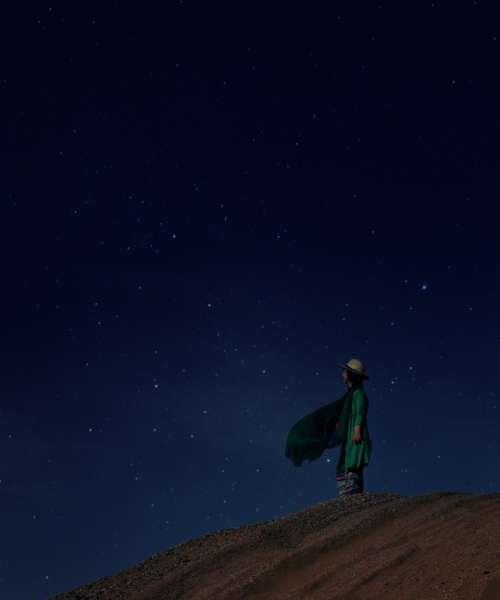 woman stars sky night nature