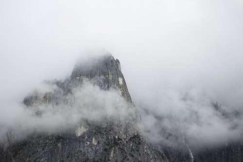 nature landscape mountains rocks clouds