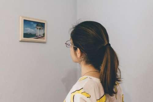 people woman eyeglasses frame art