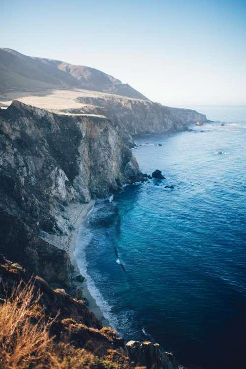 nature landscape mountain coast beach