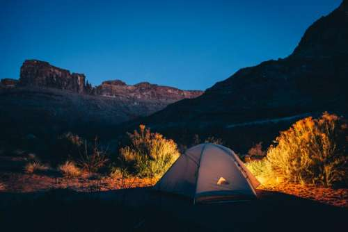 tent camping nature outdoors night