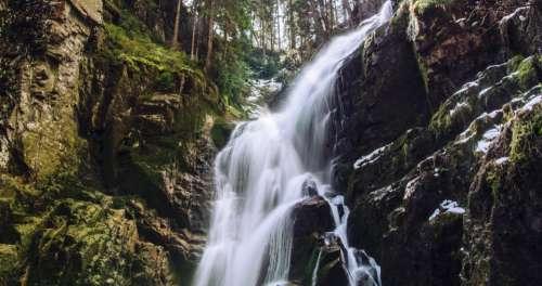 waterfalls stream water moss green