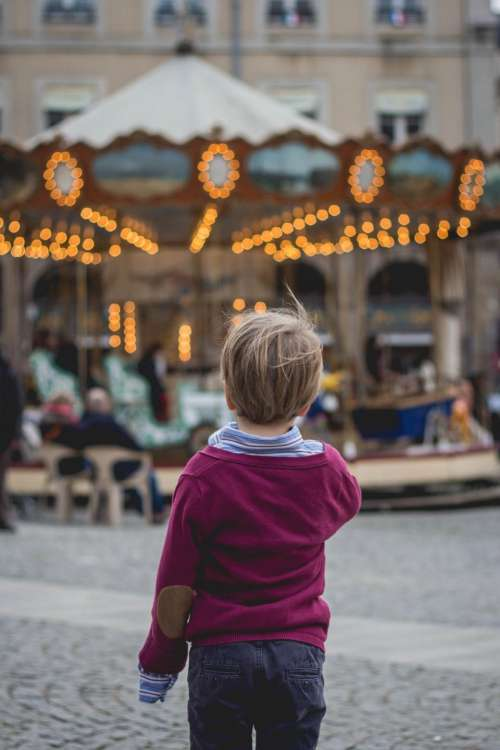 people child park alone carousel