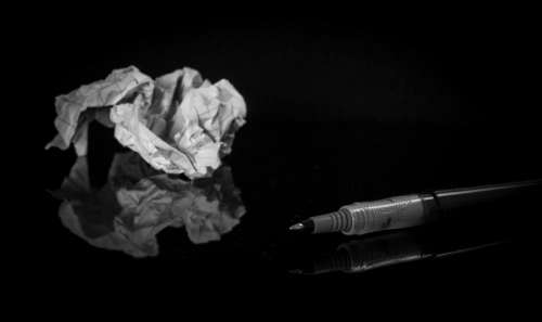 scratch crumpled paper pen black and white