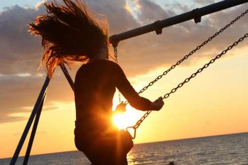 sunlight sunset girl hair people