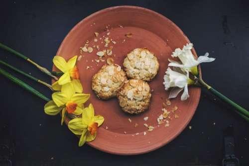 plate dessert almonds flower yellow