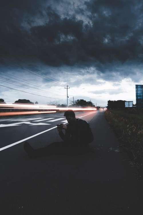 road light dark cloud sky