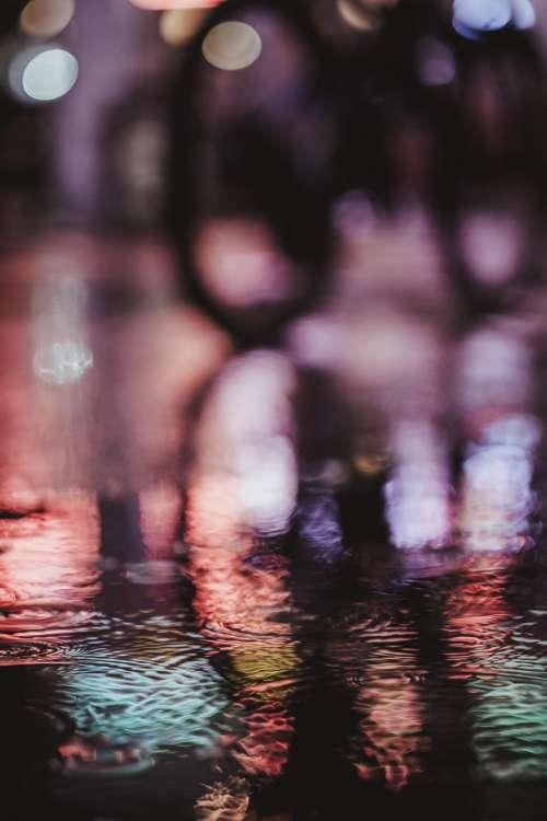 colorful light water reflection bokeh