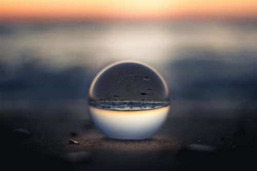 nature water glass sphere sunset