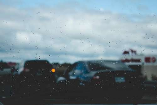 car drive glass window raindrops