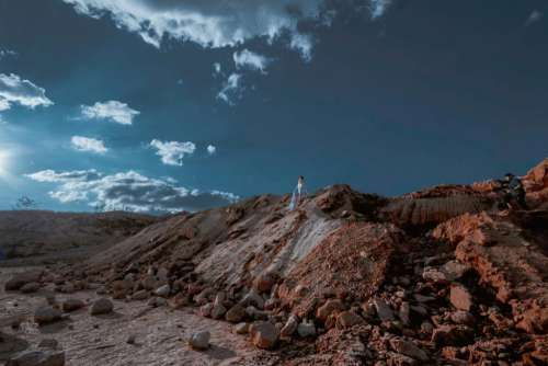 nature rocks boulders hills sky