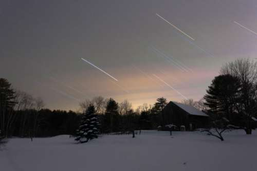 nature landscape shooting star snow winter