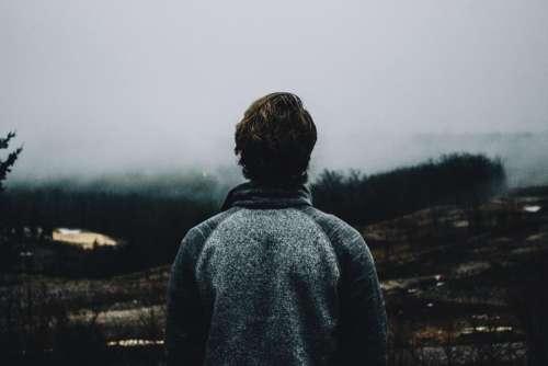 people man alone travel highland