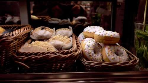 brown basket food doughnut sweets