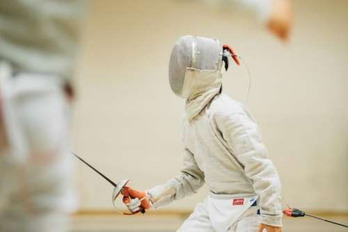 people man teen sport fencing
