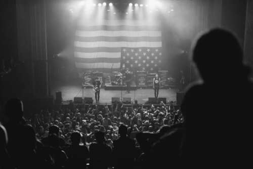 black and white concert people crowd american