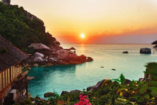 vacation resort sunset tropical beach