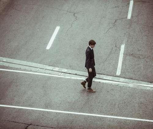 street road walking man worker