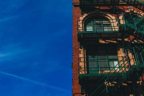 blue sky building bricks stairs