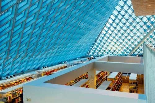 library books shelves skylight ceiling