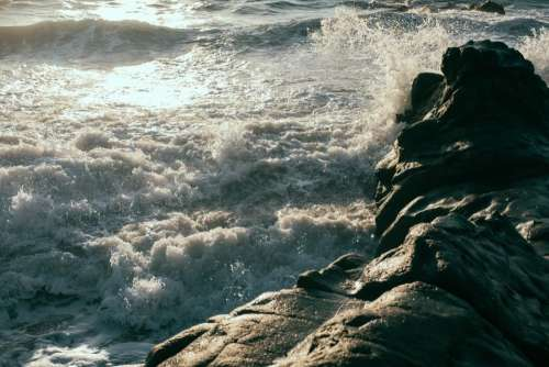 ocean sea waves coast rocks