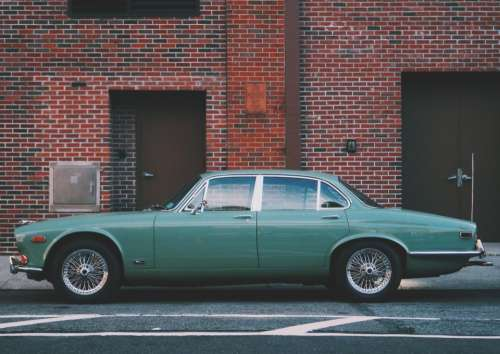 vintage car travel road street