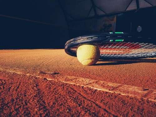tennis racket court clay ball