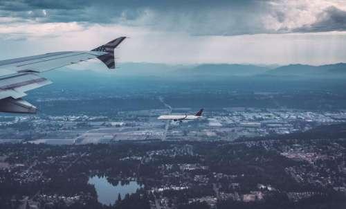 airplane airline travel trip blue
