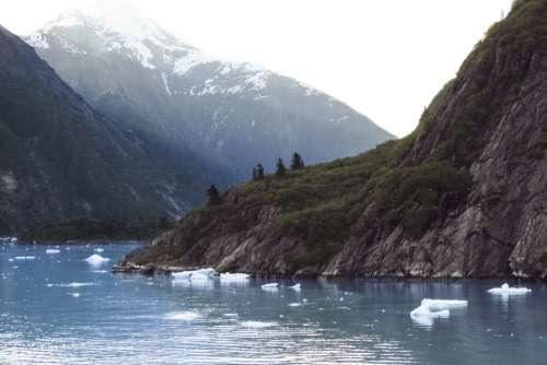 snow water mountains ravine nature