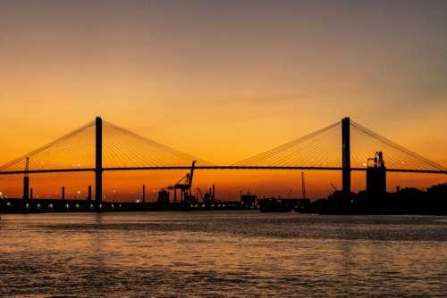 orange sunset bridge infrastructure travel