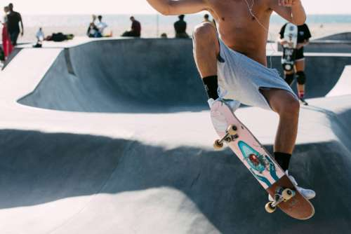 skateboard jump park youth person