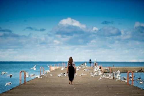 people girl walking alone sad