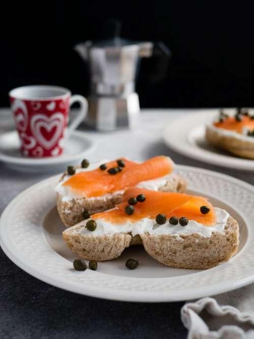 food bread salmon meat breakfast