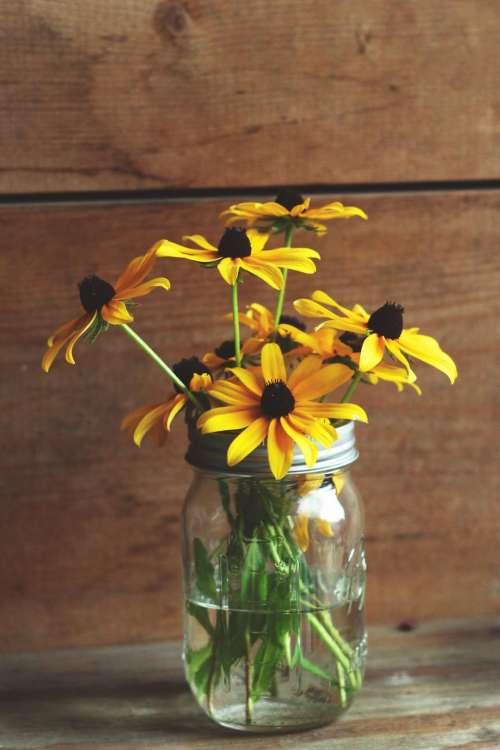 glass jar container water yellow