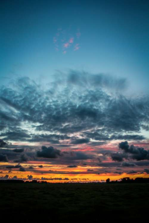 sunset sky view clouds dusk