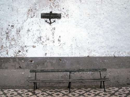 white wall anchor bench wood