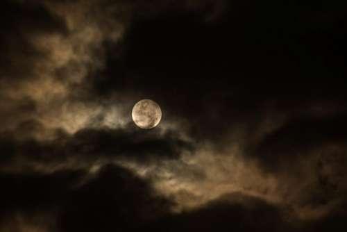 dark night clouds sky moon