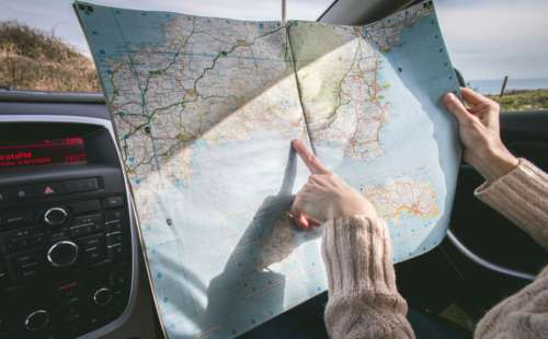 travel map car vacation direction