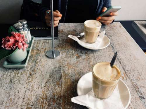 cafe coffee latte table iphone